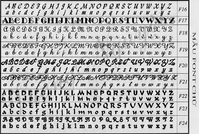 Font chữ day chuyền mặt chữ