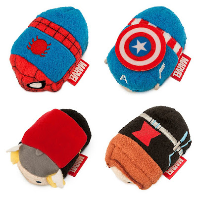 Marvel Tsum Tsum Plush Series 1 by Disney - Spider-Man, Captain America, Thor & Black Widow