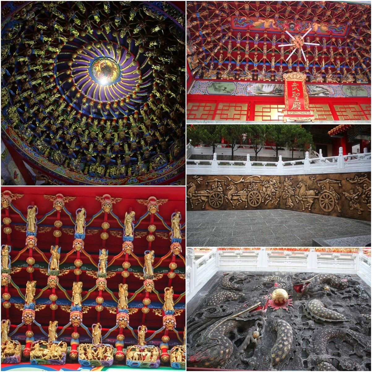 Detailed Chinese design with Gods statues in gold including walls sculptures of dragons and horses at Wenwu Temple in Puli County of Taiwan