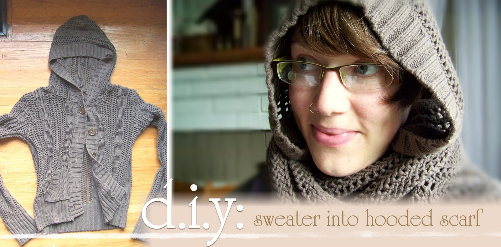 Needle And Nest Design D I Y Upcycle Your Sweater Into A Hooded Scarf