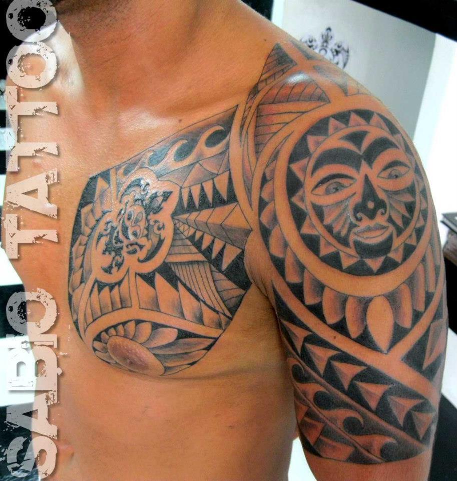tatuagem maori braÇo peito