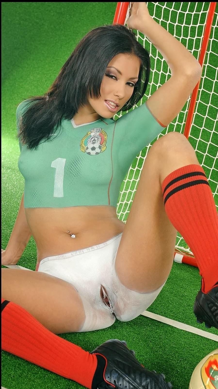 Nude body paint soccer girls