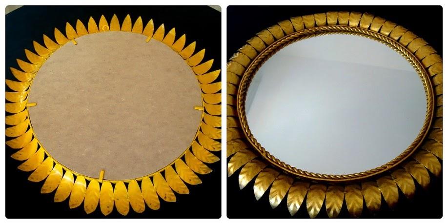 Espejo sol redondo dorado online. Tienda decoración vintage.