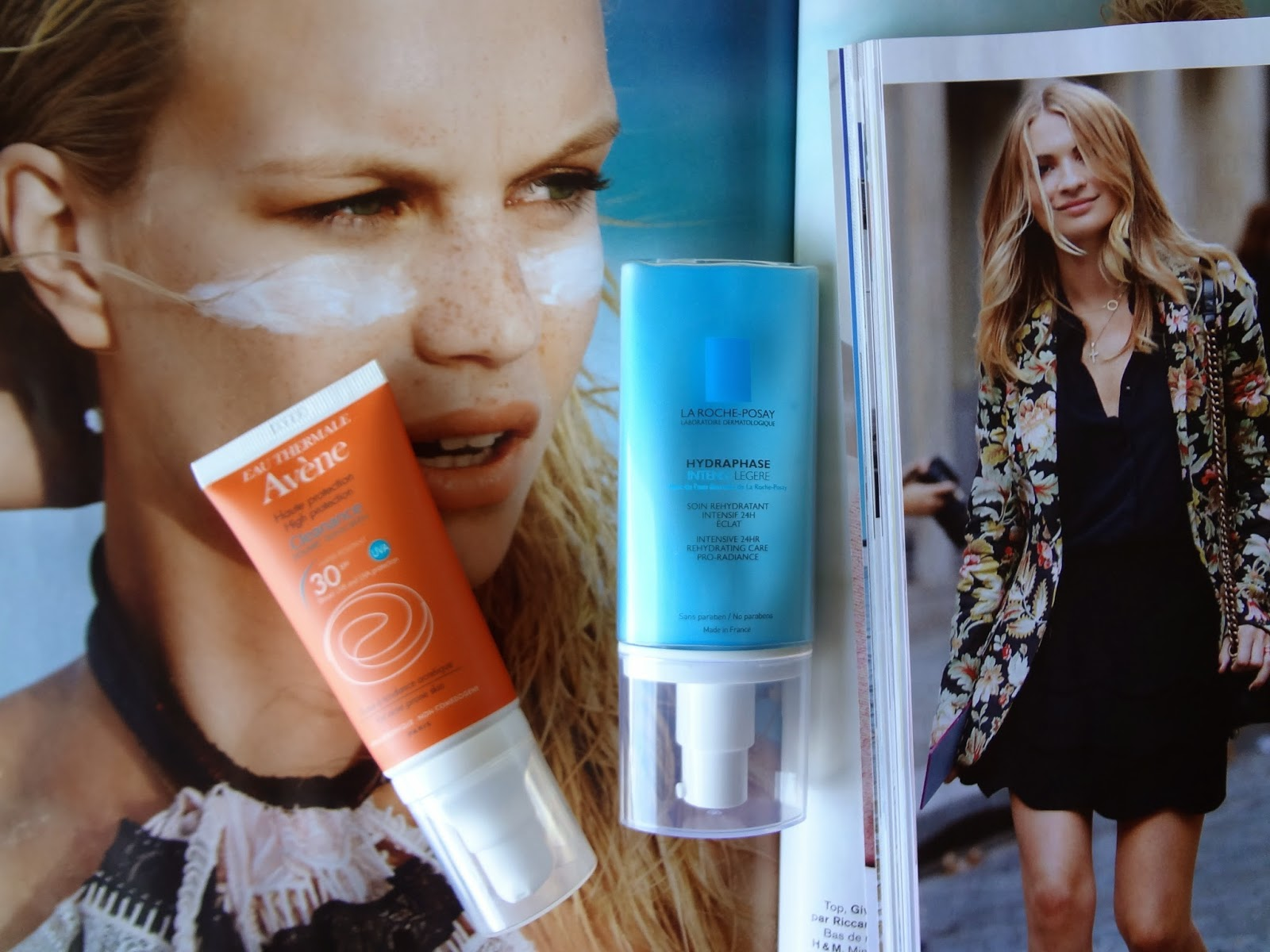 skincare-haul-revue-review-soins-achats-peau-avene-cleanance-solaire-spf30-peau-acneique-boutons-solaire-acne-protection-solaire-roche-posay-hydraphase-intense-legere-hydratant-visage