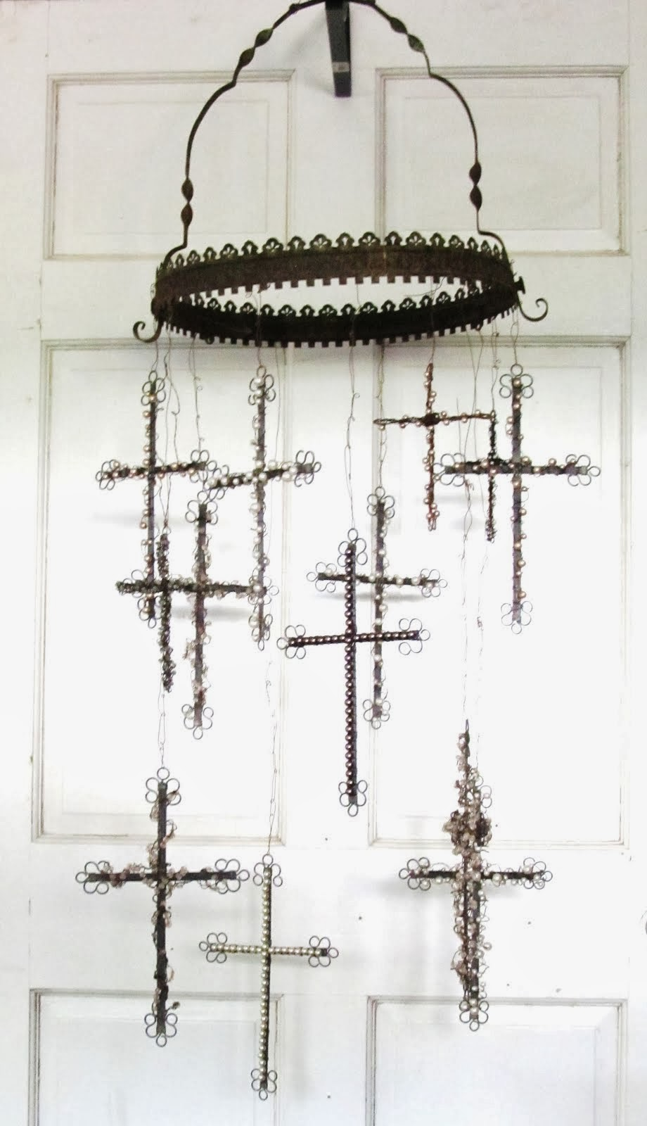 Wire cross and pearl mobile