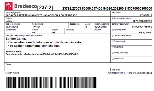 Boleto Bancario Account Settings Screen