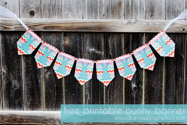 Free Printable Bunny Banner from ishouldbemoppingthefloor{dot}com. Print as many as you like. Would be super cute with cotton balls on their bottoms! #Easter, #FreePrintable, #EasterPrintable