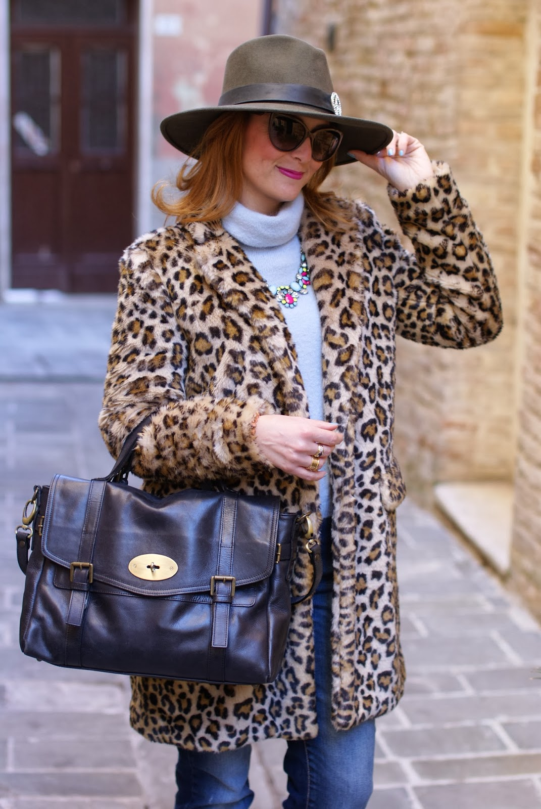leopard faux fur coat, Ecua-Andino australian hat, Ruco Line blue sneakers, satchel bag, Fashion and Cookies, fashion blogger