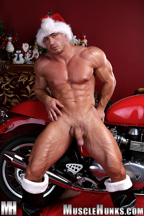 Naked And Strokes His Big Hard Cock In Santas Helper From Muscle Hunks