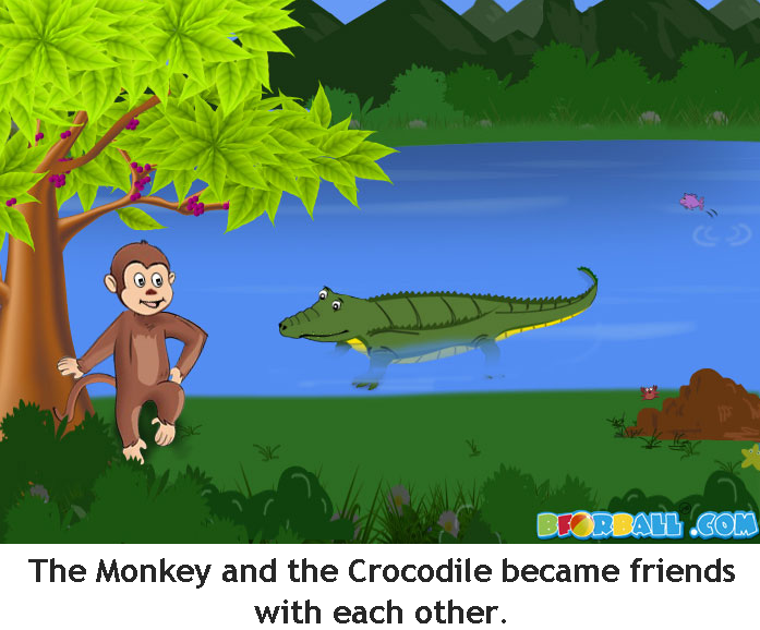 story of the monkey and the crocodile Story title and author: the monkey and the crocodile author paul galdone: somebody: character 1 monkey: name and character traits: monkey :trickster, like to eat character 2 crocodile.