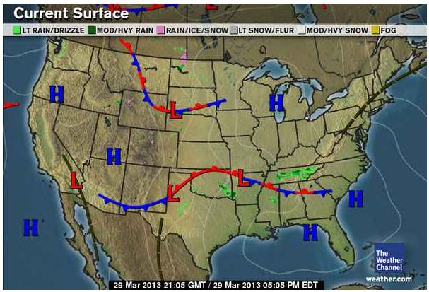 Tonyas Daily Weather Blog March - Us weather map march