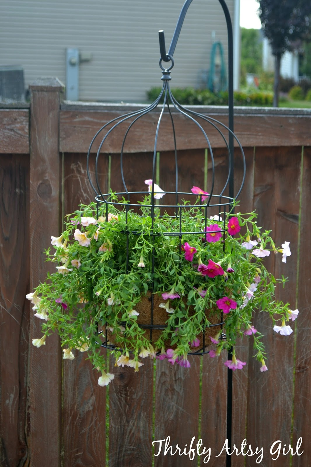 thrifty artsy girl diy simply sweet hanging birdcage planter. Black Bedroom Furniture Sets. Home Design Ideas