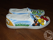 Handmade Angry Bird Shoes. All I did was sketch out the characters onto the .
