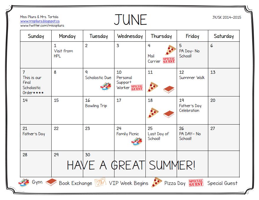 June Calendar For Kindergarten : Miss pliura s kindergarten class announcements june calendar
