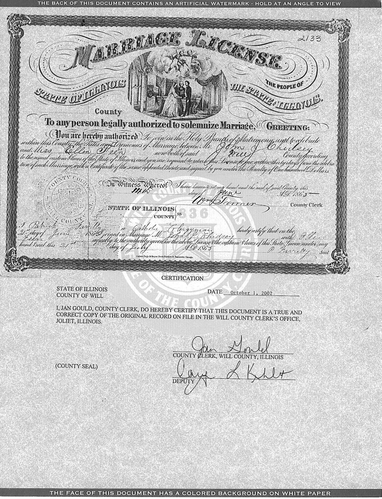 Joliet Genealogy: Illinois Marriage Certificates, 1860-1917