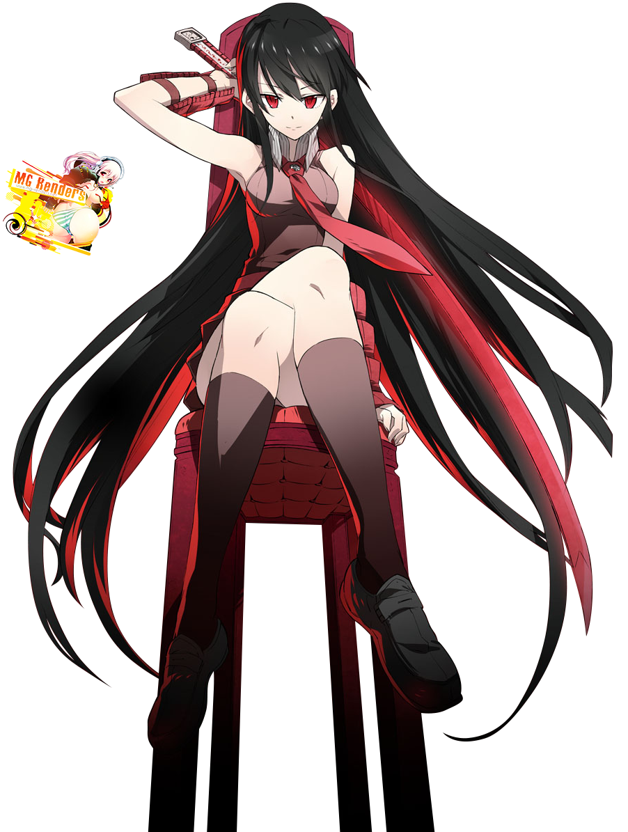 Tags: Anime, Render,  Akame,  Akame Ga Kill!,  Crossed Legs, PNG, Image, Picture