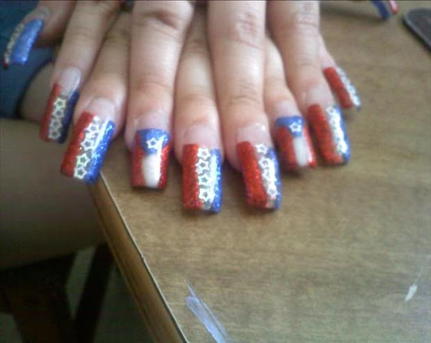 zebra nail design - acrylic nails