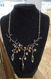 tree branch gold and crystal necklace handcrafted by amy jo martin for sale on etsy