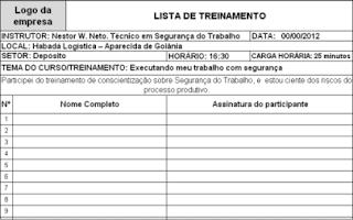 Modelo de lista de presença para treinamento
