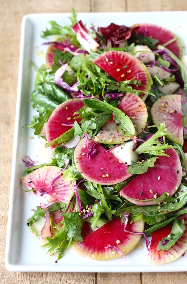 Watermelon Radish Salad recipe with Asian Citrus Dressing by SeasonWithSpice.com
