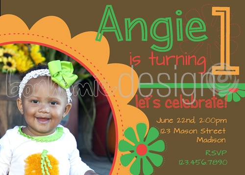 1st birthday photo invite by bonhomieEVENTS