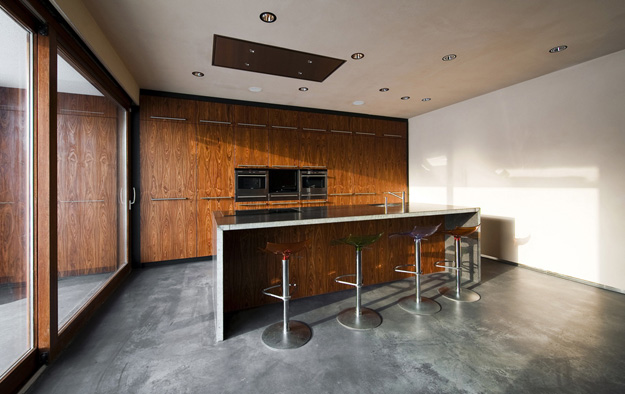 Photo of modern wooden furniture in the kitchen