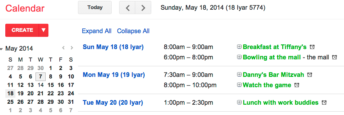 Google's Calendar now includes Hebrew dates