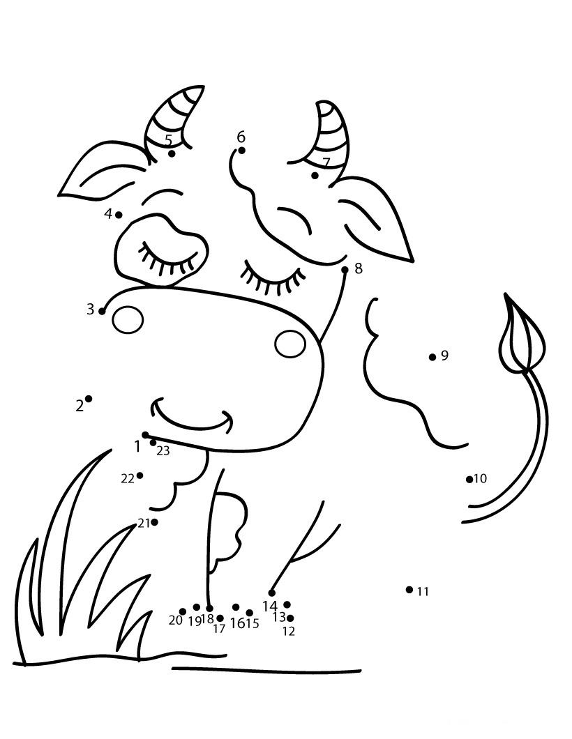Desenhos Para Colori Ligar pontos animais da fazenda desenhar