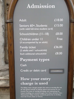 Westminster Abbey ticket entry prices