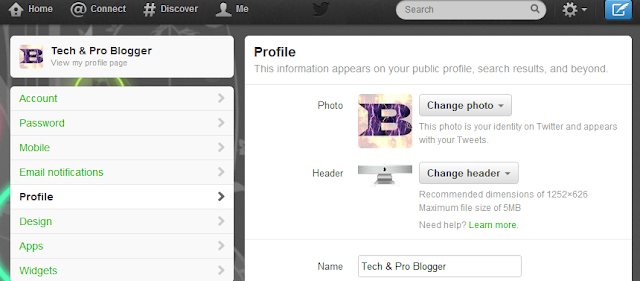 twitter header image settings