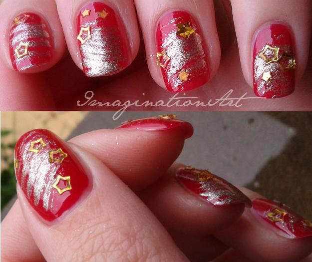 nail art natalizia per natale christmas noel stelle stars red rosso golden oro facile easy semplice