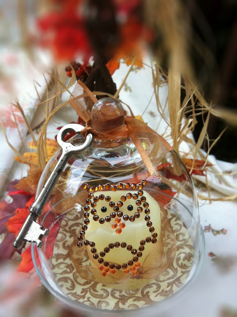decorate cloches for fall with owl