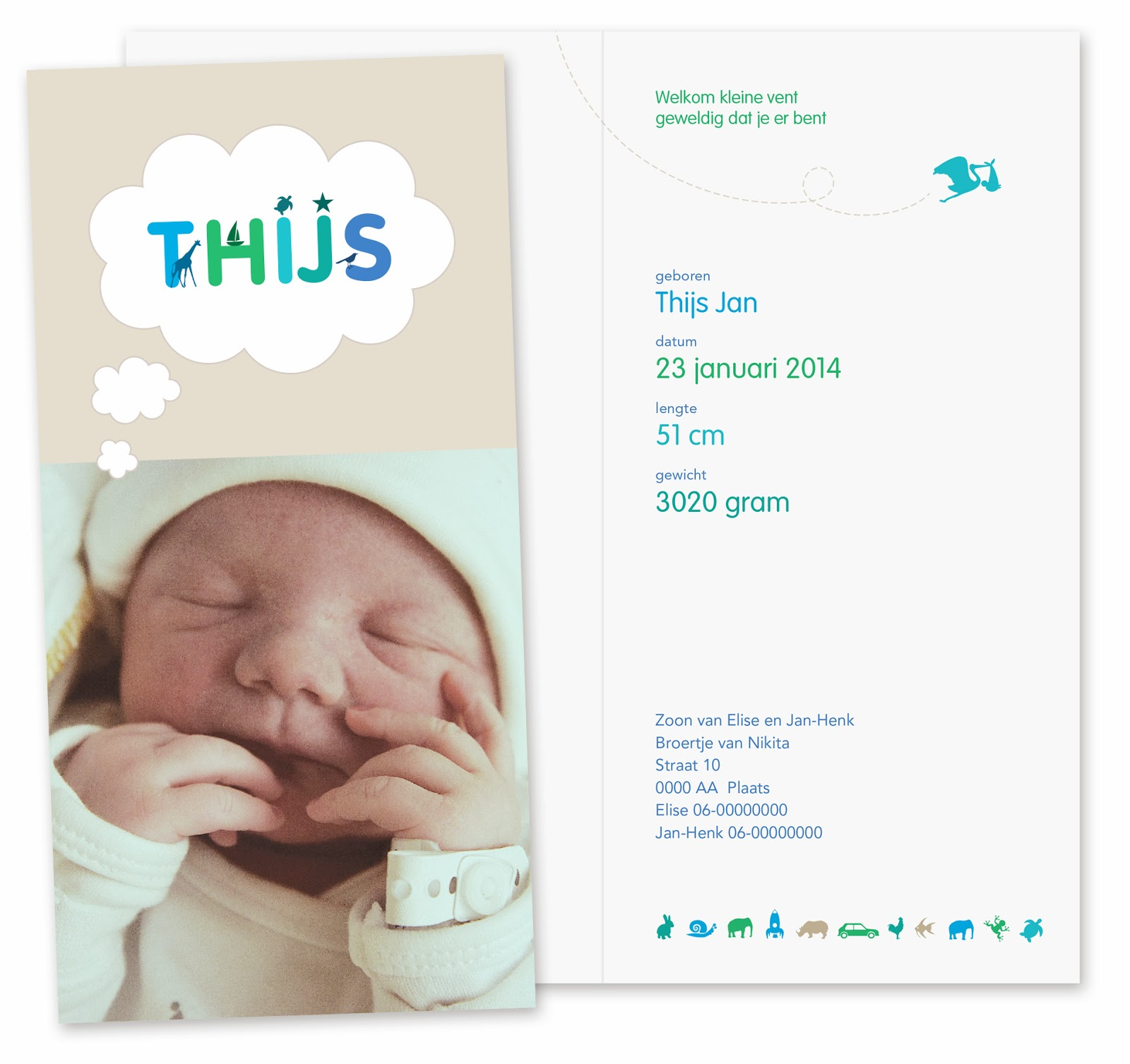 Geboortekaartje Thijs - ontwerp van Svenny | Grafisch Ontwerp
