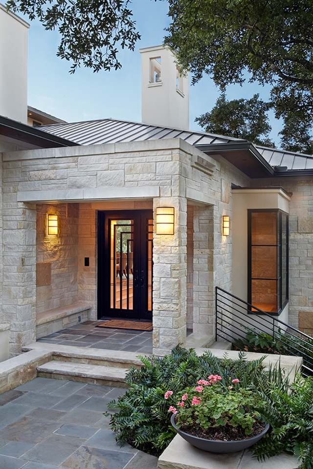 Picture of entrance and stone facade on the modern house