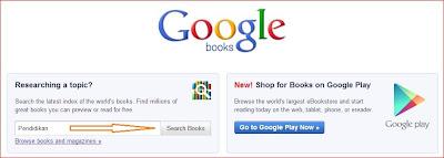 Kotak pencarian buku Google Books