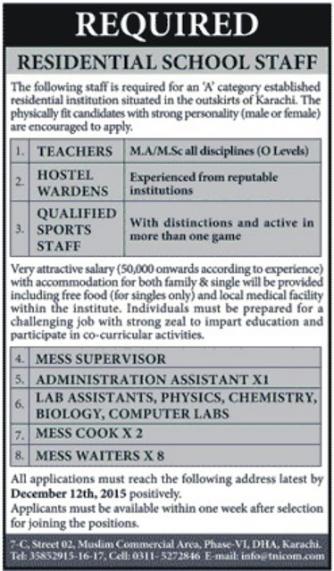 Teachers & Admin Jobs in a Residential School Karachi