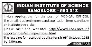 Applications are invited for Medical Officer vacancy in IIS Bangalore