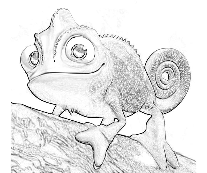 Printable Tangled Pascal Funny Coloring Pages title=