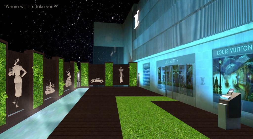 jardín minmalista con muro verde Louis Vuitton Cancun, interior, iluminación noche, vintage