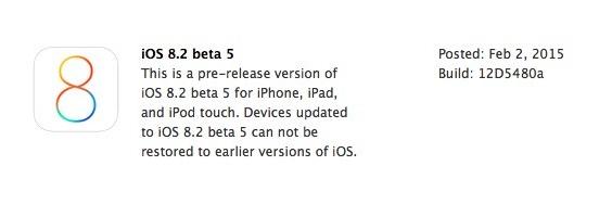 Apple iOS 8.2 Beta 5 Firmware (Build-12D5480a)