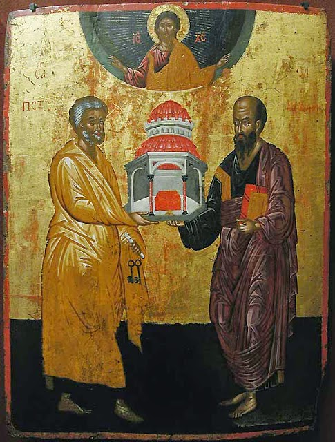 http://www.orthodoxartsjournal.org/st-peter-on-the-right-st-paul-on-the-left/
