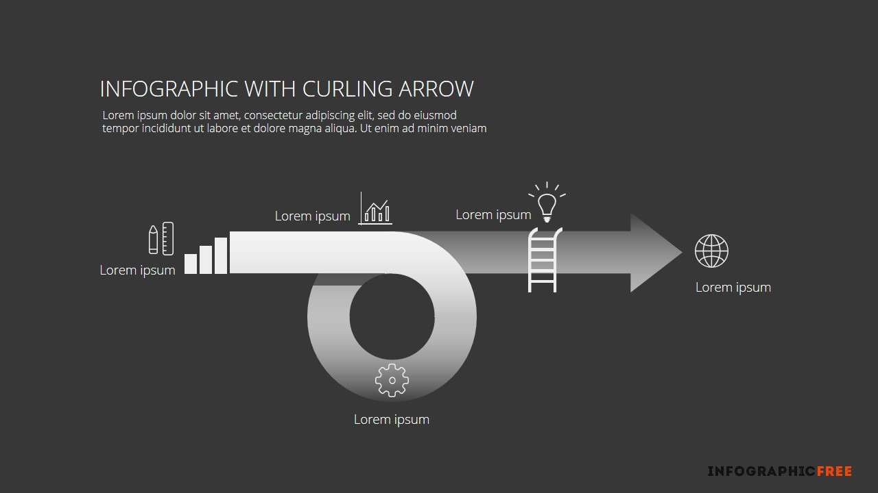 free powerpoint template with infographic curling arrow and, Modern powerpoint