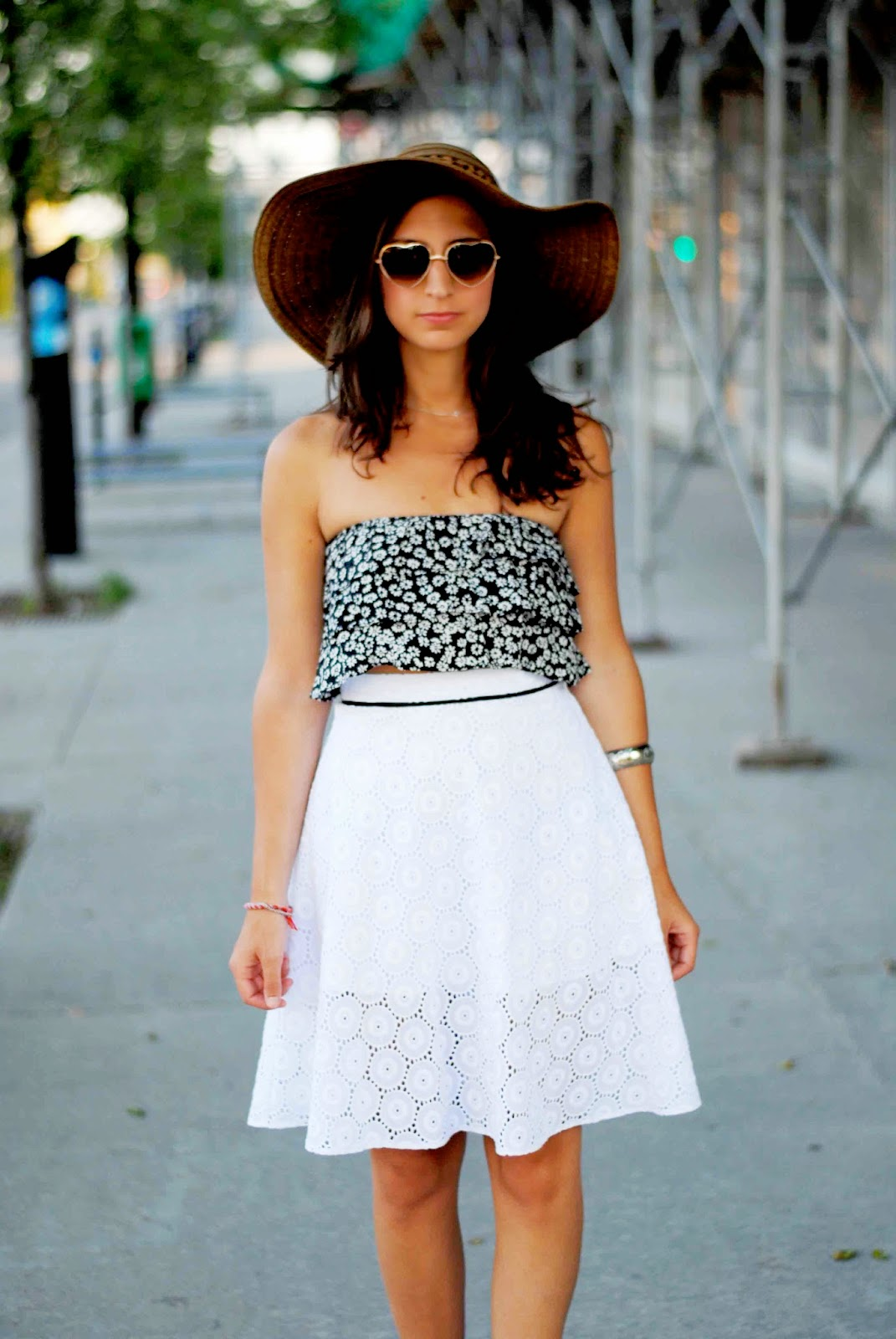 fashion summer vintage midi skirt crop tube top heart sunnies sun hat