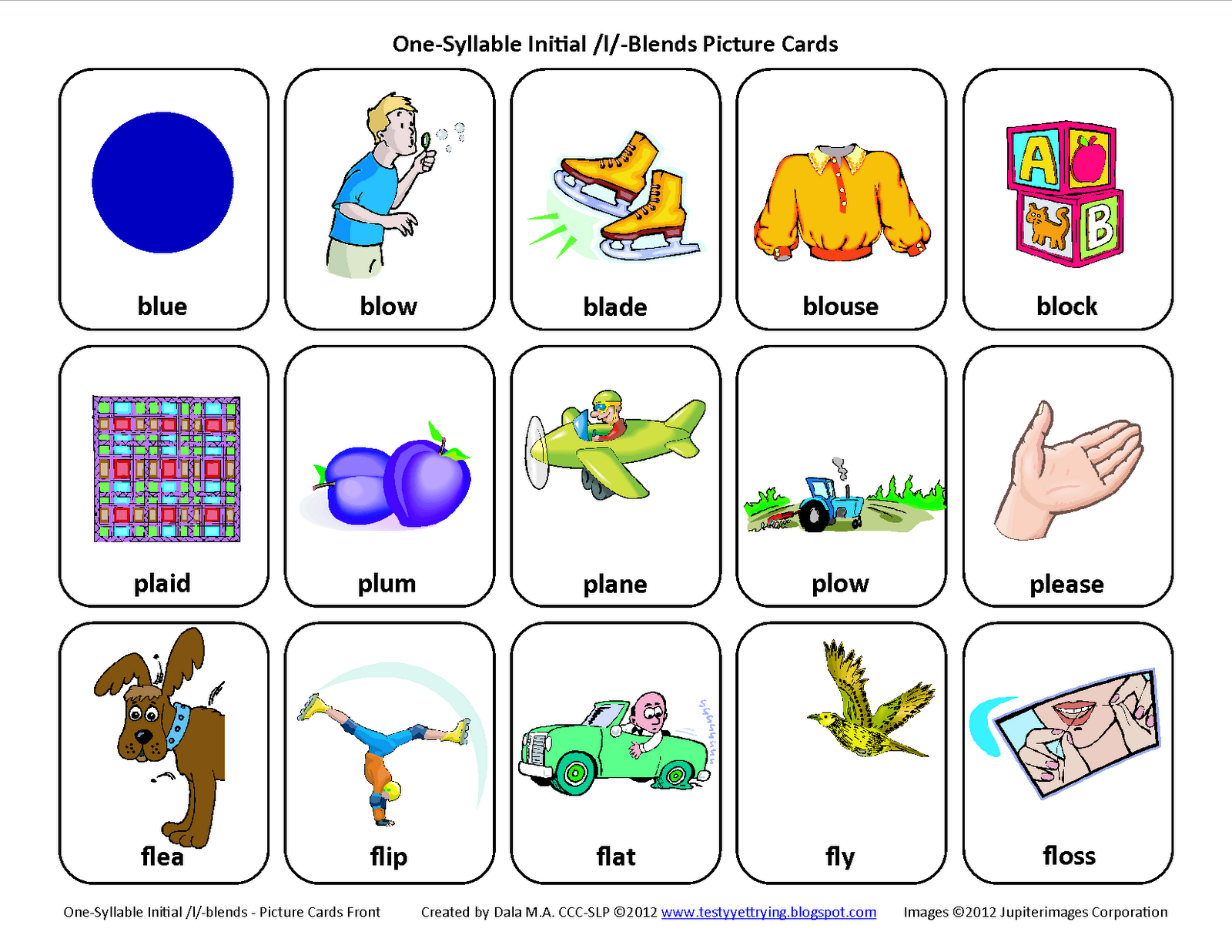 Testy yet trying LBlends bl pl fl Free Speech Therapy – Free Articulation Worksheets