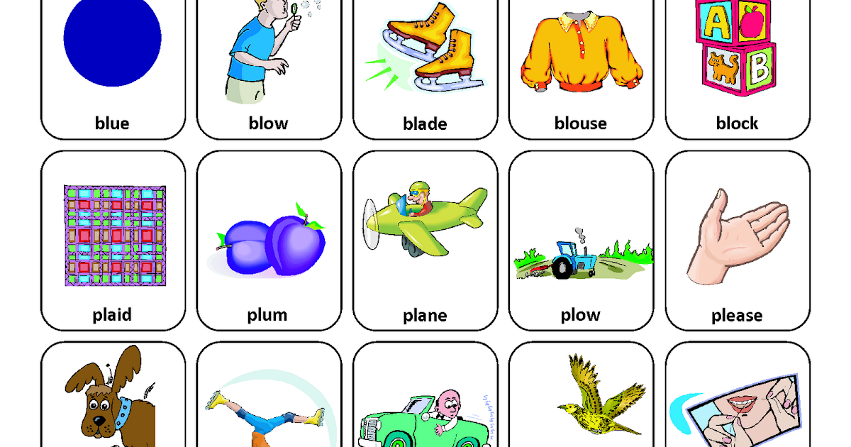 Articulation worksheets for l blends