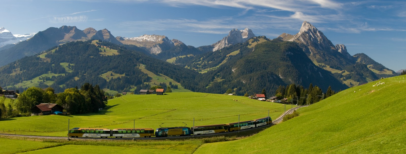 Enjoy the sublime Swiss countryside from the Golden Pass Panoramic Train. Photo: Gstaad Saanenland Tourismus.