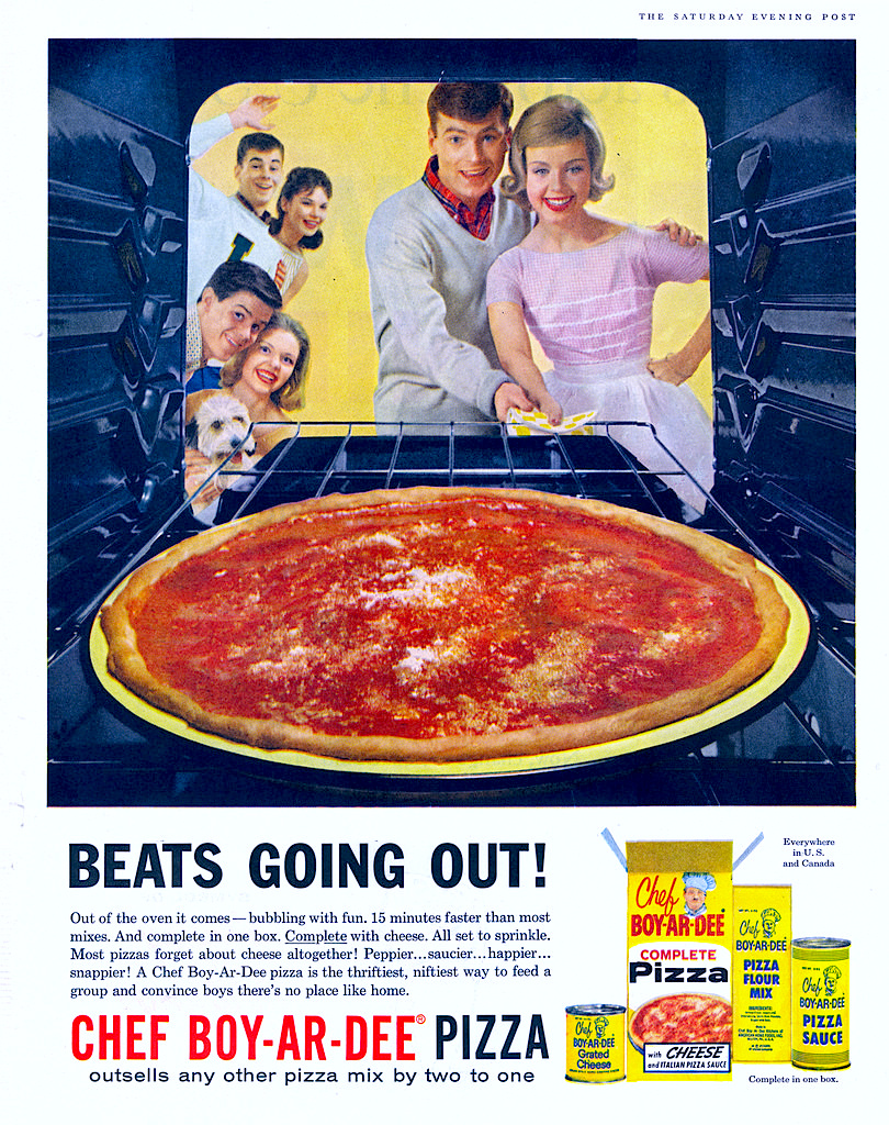 Chef Boy Ar Dee Complete Pizza Kit Vintage Ad 1960