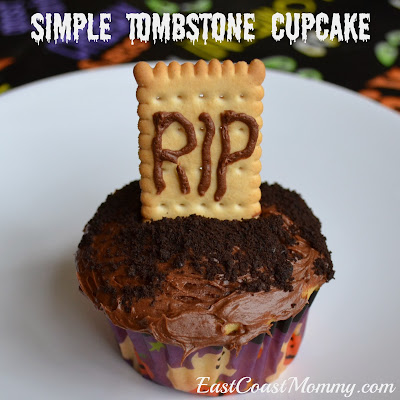 "To make tombstone cupcakes, we started by using icing to write ""RIP ..."