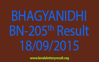 BHAGYANIDHI BN 205 Lottery Result 18-9-2015
