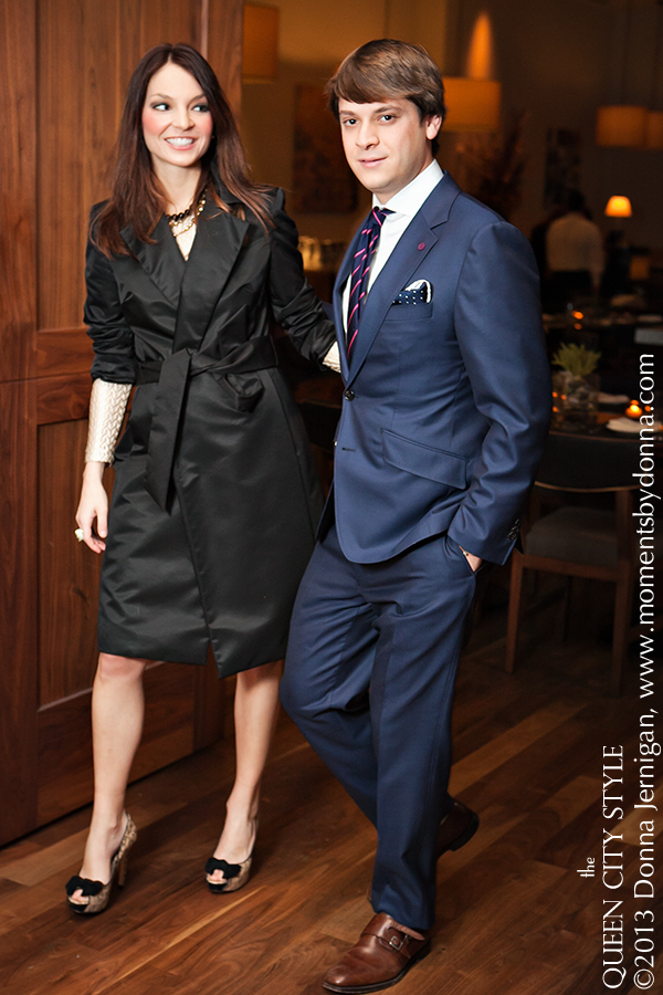 Abbeydale Suiting and Shirt, Loake 1880 Shoes, Joan and David Pumps, Alexis Jumper from Sloan, Banana Republic Coat, BLT Steak at The Ritz Carlton, Thomas Pink Tie, the Queen City Style, Moments by Donna, Brooklyn Watches